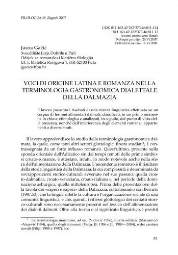 Voci di origine latina e romanza nella terminologia gastronomica dialettale della Dalmazia / Jasna Gačić
