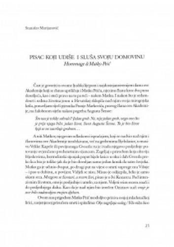 Pisac koji udiše i sluša svoju domovinu : hommage a Matko Peić : govor na komemoraciji 30. siječnja 2003. u Hrvatskoj akademiji znanosti i umjetnosti