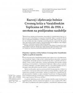 Razvoj i djelovanje bolnice Crvenog križa u Varaždinskim Toplicama od 1914. do 1918. s osvrtom na poslijeratno razdoblje / Spomenka Vlahović