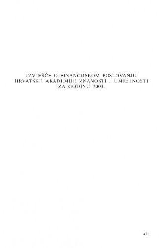 Izvješće o financijskom poslovanju Hrvatske akademije znanosti i umjetnosti za godinu 2003.