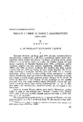 Esnafi i obrti u Bosni i Hercegovini (1463-1878) : II. Mostar / H. Kreševljaković