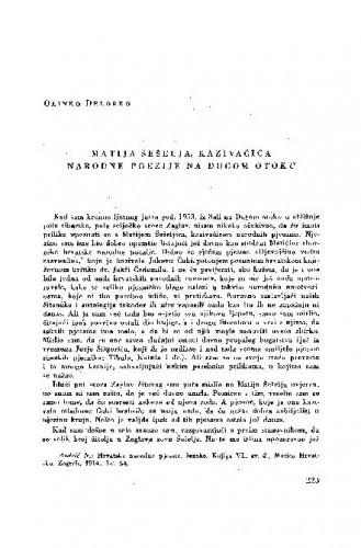 Matija Šešelja, kazivačica narodne poezije na Dugom otoku / O. Delorko