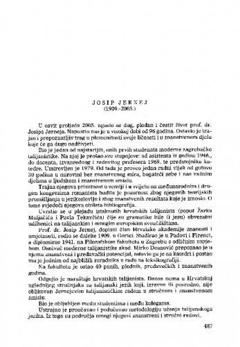 Josip Jernej (1909.-2005.) : [nekrolog] / Petar Šimunović