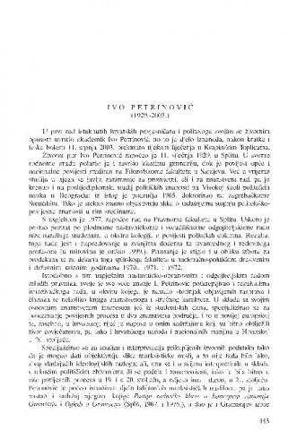 Ivo Petrinović (1929.-2003.) : [in memoriam] / Petar Strčić