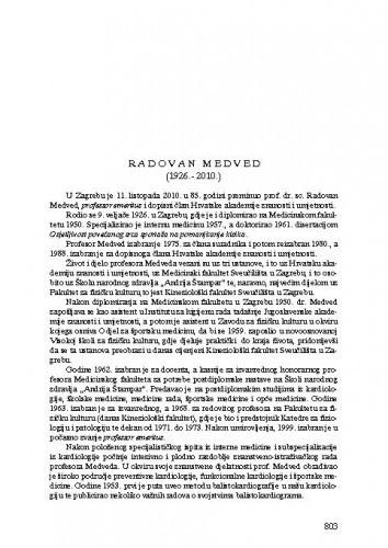 Radovan Medved (1926.-2010.) : [nekrolog] / Marko Pećina