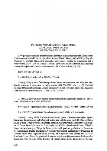 Popis izdanja Hrvatske akademije znanosti i umjetnosti objelodanjenih u godini 2010.