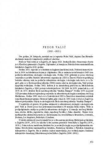 Fedor Valić (1923.-2013.) : [nekrolog] / Marko Šarić