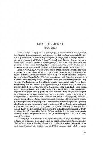 Boris Kamenar (1929.-2012.) : [nekrolog] / Stanko Popović, Dubravka Matković-Čalogović