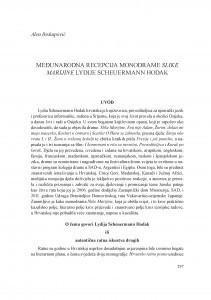 Međunarodna recepcija monodrame Slike Marijine Lydije Scheuermann Hodak / Alen Biskupović