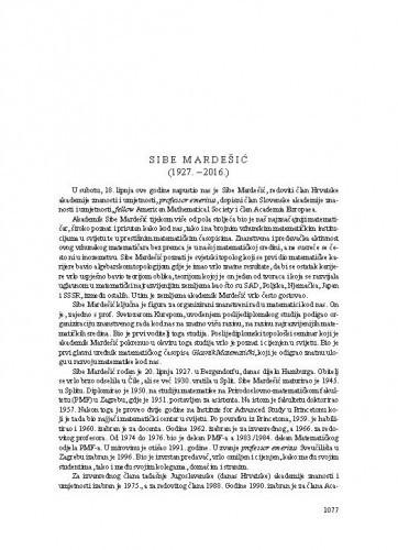 Sibe Mardešić (1927.-2016.) : [nekrolog] / Marko Tadić