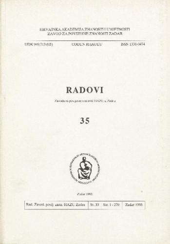 Sv. 35(1993) : Radovi Zavoda za povijesne znanosti HAZU u Zadru