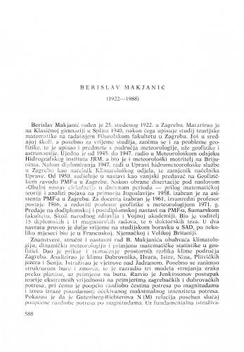 Berislav Makjanić (1922-1988) : [nekrolozi] / Dragutin Skoko