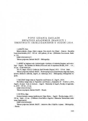 Popis izdanja Zaklade Hrvatske akademije znanosti i umjetnosti objelodanjenih u godini 2014.