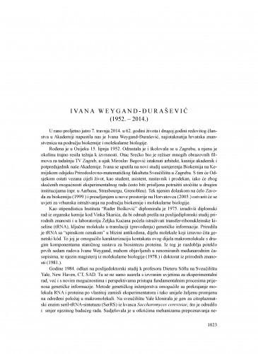 Ivana Weygand-Đurašević (1952.-2014.) : [nekrolog] / Željko Kućan