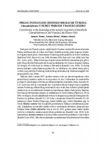 Prilog poznavanju jesenske migracije ćurlina Charadriiformes u Parku prirode Vransko jezero : [short note] / Adrian Tomik, Sandra Hodić, Marina Grgić