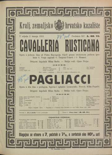 Cavalleria rusticana ; Pagliacci Opera u jednom činu ; Opera u dva čina s prologom / Giovanni Verga