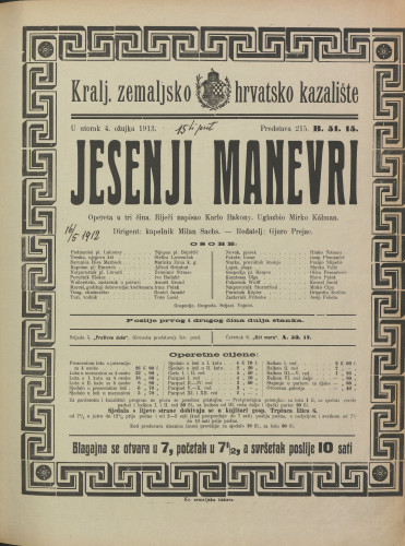 Jesenji manevri Opereta u tri čina