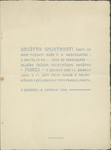Pozivnica na izložbu Češkog umjetničkog društva Manes, 1904.