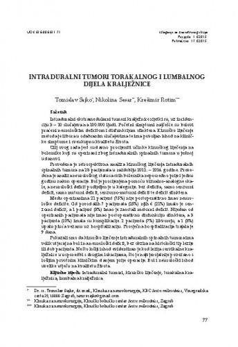 Intraduralni tumori torakalnog i lumbalnog dijela kralježnice