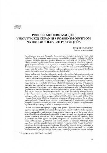 Procesi modernizacije u Virovitičkoj županiji s posebnim osvrtom na drugu polovicu 19. stoljeća