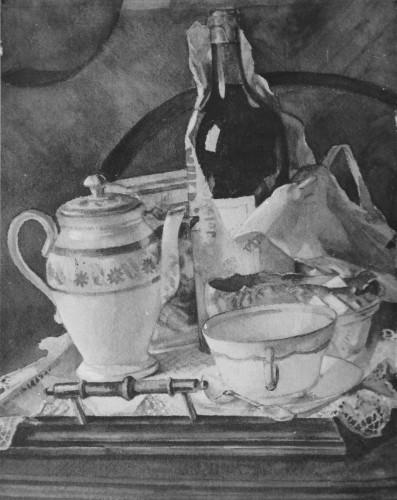 Mrtva priroda sa šalicom za čaj i bocom ruma