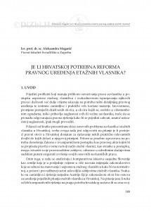 Je li Hrvatskoj potrebna reforma pravnog uređenja etažnih vlasnika? : [uvodno izlaganje]