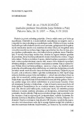 Prof. dr. sc. Ivan Zoričić : (zaslužni profesor Sveučilišta Jurja Dobrile u Puli) Pakovo Selo, 26. II. 1937. - Pula, 9. IV. 2018. ; in memoriam / Goran Filipi