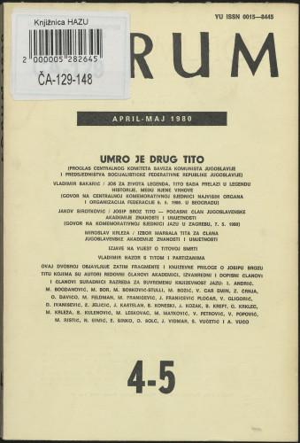 God. 19(1980), knj. 39, br. 4-5 / glavni i odgovorni urednik Marijan Matković