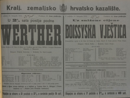 Werther lirska drama u tri čina (4 slike) / od Ivana pl. Zajca