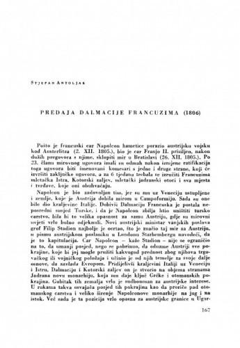 Predaja Dalmacije Francuzima (1806) / S. Antoljak