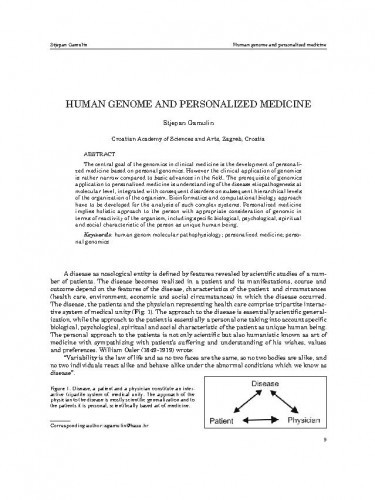Human genome and personalized medicine / Stjepan Gamulin