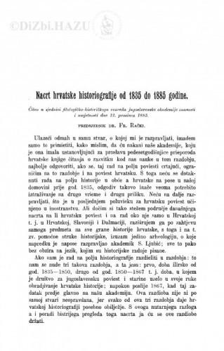 Nacrt hrvatske historiografije od 1835 do 1885 godine / F. Rački