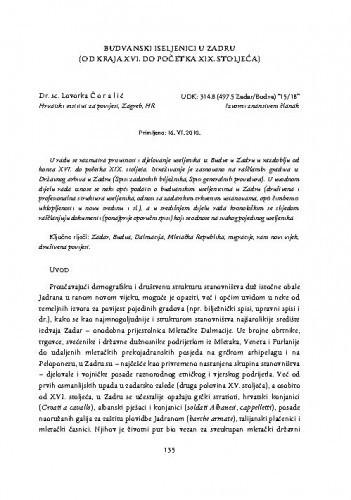 Budvanski iseljenici u Zadru (od kraja XVI. do početka XIX. stoljeća) / Lovorka Čoralić