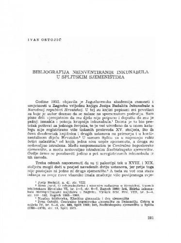Bibliografija neinventiranih inkunabula u Splitskim sjemeništvoma / Ivan Ostojić