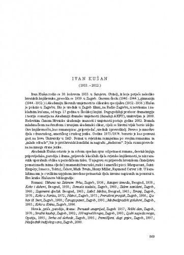 Ivan Kušan (1933.-2012.) : [nekrolog] / Ante Stamać