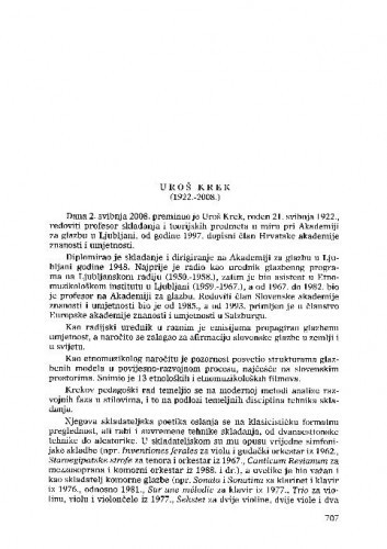 Uroš Krek (1922.-2008.) : [nekrolog] / Nikša Gligo
