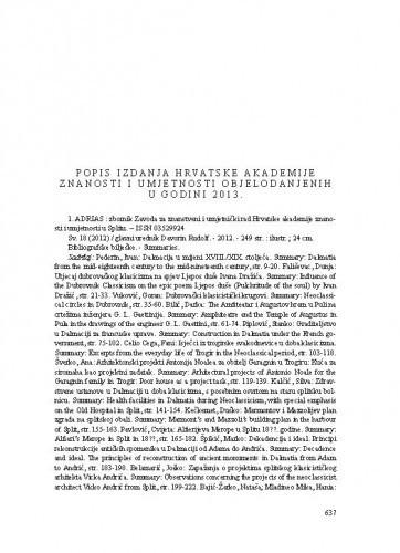 Popis izdanja Hrvatske akademije znanosti i umjetnosti objelodanjenih u godini 2013.