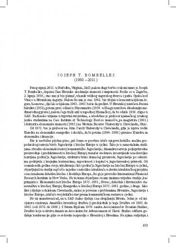 Joseph T. Bombelles (1930.-2011.) : [nekrolog] / Vladimir Stipetić