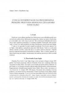 Utjecaj interpretacije na prevođenje na primjeru prijevoda monologa Žena-bomba Ivane Sajko / Sanja Cimer, Stephanie Jug