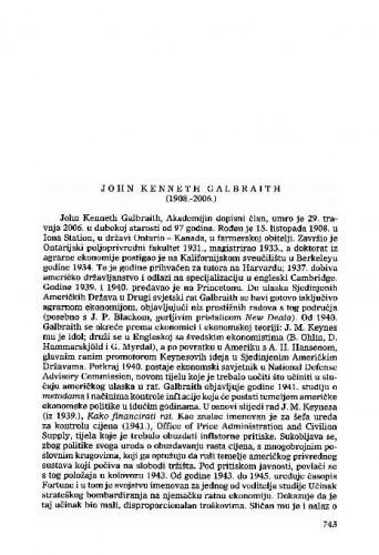 John Kenneth Galbraith (1908.-2006.) : [nekrolog] / Vladimir Stipetić