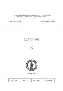 Sv. 32(1990) : Radovi Zavoda Jugoslavenske akademije znanosti i umjetnosti u Zadru
