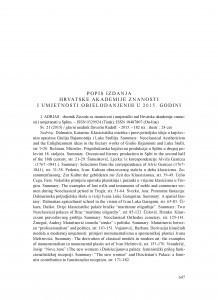 Popis izdanja Hrvatske akademije znanosti i umjetnosti objelodanjenih u 2015. godini