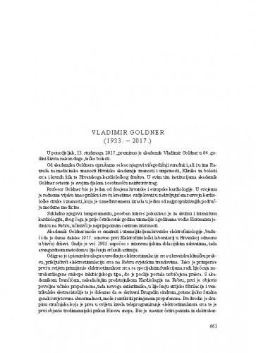 Vladimir Goldner (1933.-2017.) : [nekrolog] / Davor Miličić, Ivo Čikeš