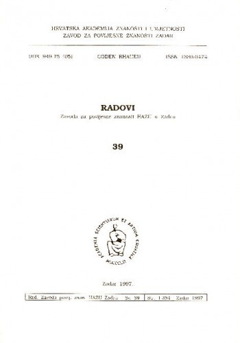 Sv. 39(1997) : Radovi Zavoda za povijesne znanosti HAZU u Zadru