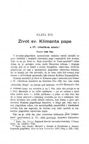 Život sv. Klimenta pape u IV. vrbničkom misalu / Josef Vajs