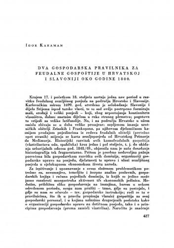 Dva gospodarska pravilnika za feudalne gospoštije u Hrvatskoj i Slavoniji oko  godine 1800. / Igor Karaman
