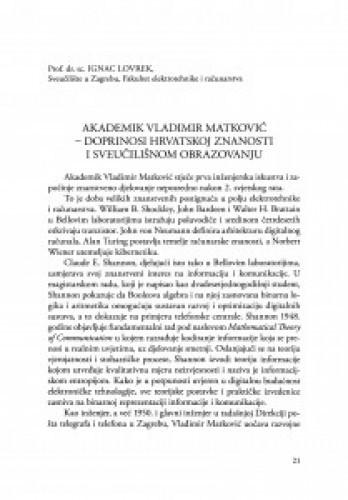 Akademik Vladimir Matković - doprinosi Hrvatskoj znanosti i sveučilišnom obrazovanju / Ignac Lovrek