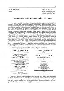 Prva povijest varaždinskih uršulinki (1803.)