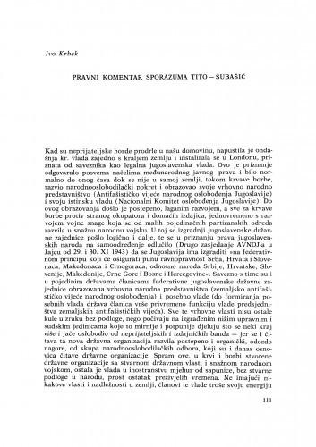 Pravni komentar sporazuma Tito-Šubašić / I. Krbek