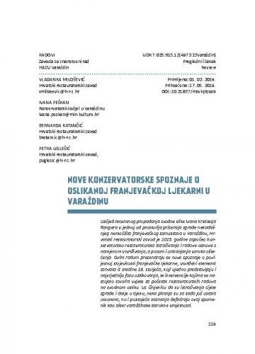 Nove konzervatorske spoznaje o oslikanoj franjevačkoj ljekarni u Varaždinu / Vladanka Milošević, Ivana Peškan, Bernarda Ratančić, Petra Uglešić